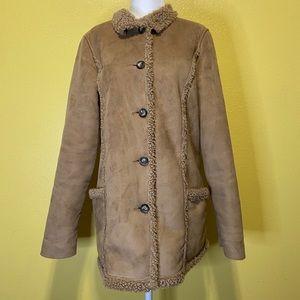 LL Bean Women's Faux Suede Sherpa Coat size Small